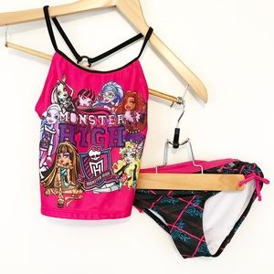 Monster High Pink Studded Plaid Tankini Swimsuit
